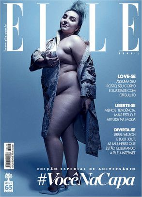 Modelo plus size posa sem lingerie na capa da revista Elle