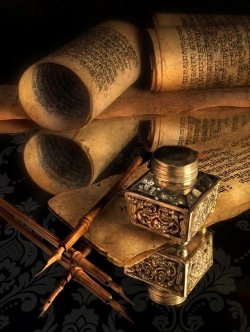 Scrolls, ink wells, and calligraphy pens…