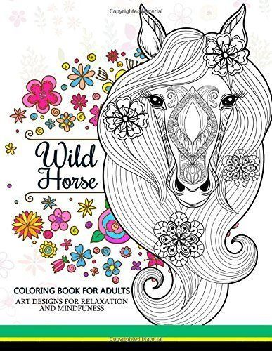 Wild Horses Coloring Book For Adult Paperback
