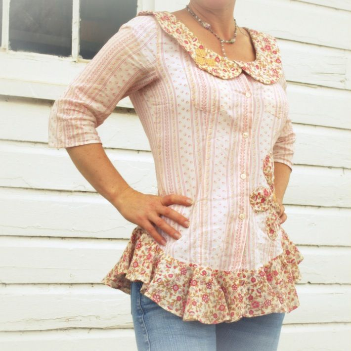 ~*~ Love the curve at the bottom, I've got to do that on a few shirts!~*~ thrifted, refashioned peter pan peplum...soooo cute!