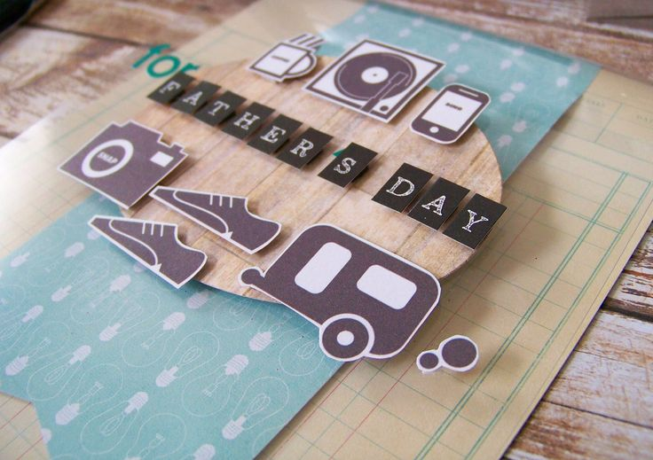 Retro FATHER'S DAY card - Dad Hobby Card - SALE - phone - caravan - music - camera - coffee - green - wood - bulbs - ledger print by QuirkandFoible on Etsy