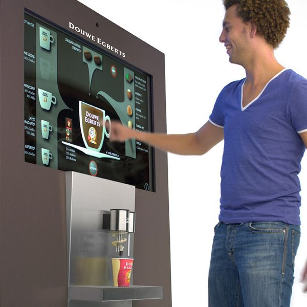 interactive touch screen and all you have to do is to drag and drop the ingredients into the cup and voila, your coffee is ready.