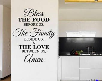 Wall Decal - Bless the food before us Vinyl Lettering Quote for Room Decoration