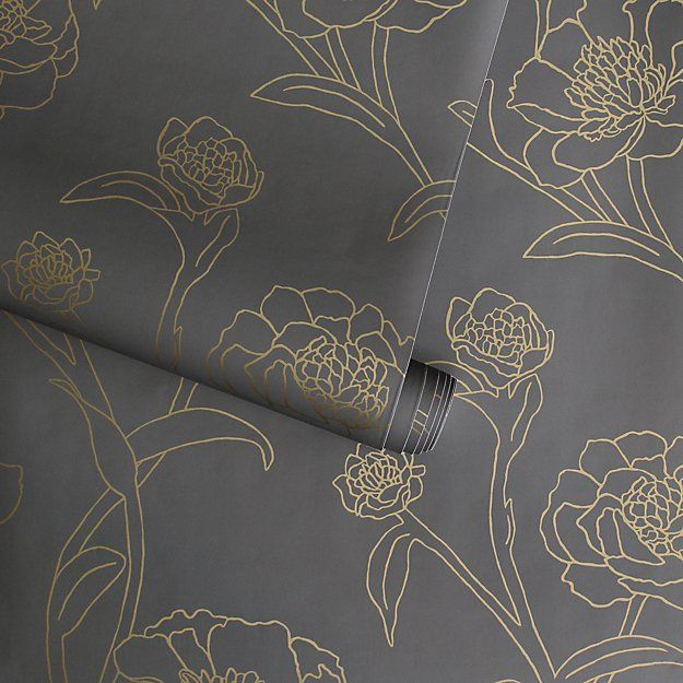 Tempaper Peonies Noir Removable Wallpaper Removable Wallpaper Wallpaper Bedroom Feature Wall Crate And Barrel