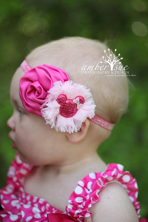 Hey, I found this really awesome Etsy listing at https://www.etsy.com/listing/155118873/baby-headband-pink-disney-minnie-mouse