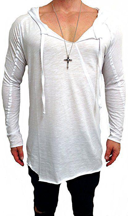 Oversize Kapuzen Longsleeve Shirt Deep Longshirt Long shirt Swag Herren Sweatshirt NEU skater hip hop Sweat Jacke weiß u schwarz Pullover langes m Kapuzenpullover Sweatjacke Pulli (S, weiß)