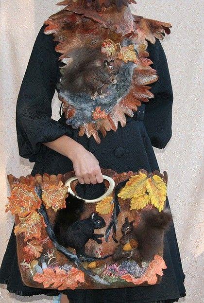 БЕЛКИ - белки,осень,кленовые листья,осенние листья,охра,осенняя сумка