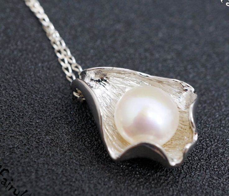 Real Pearl Necklace - Freshwater Pearl Necklace - Flawless Large Pearl Necklace - Sterling Silver Shell High Quality Pearl Jewelry by CrystalFairyUSA on Etsy https://www.etsy.com/listing/261447851/real-pearl-necklace-freshwater-pearl
