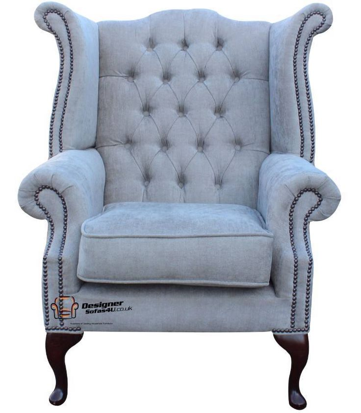 Chesterfield Queen Anne Wing Chair Handmade In Perla Illusions Grey Fabric. Our Winged High-Back Chesterfield Queen Anne Armchair with exposed hardwood leg detail. A very popular look in the Chesterfield style. | eBay!