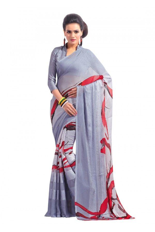 Grey Colour Chifon Printed Saree  - RKAM6555