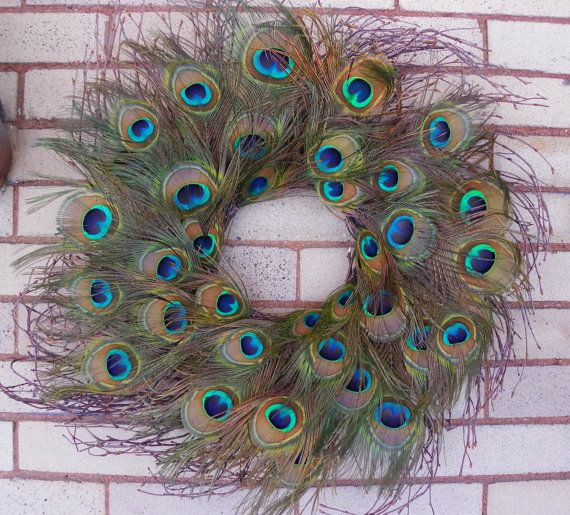 Peacock Feather Wreath, Rustic Wreath, LARGE Peacock Eyes, Blue/Green Peacock Feathers