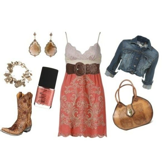 Country girl outfit(:: Cowgirl Boots, Jeans Jackets, Clothing, Country Style, Country Girls, Girls Outfits, Cowboys Boots, The Dresses, Country Outfits