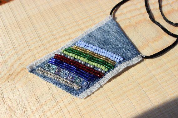 Jeans Boho Pendant Jeans Necklace Bohemian by BohoBohemianShop