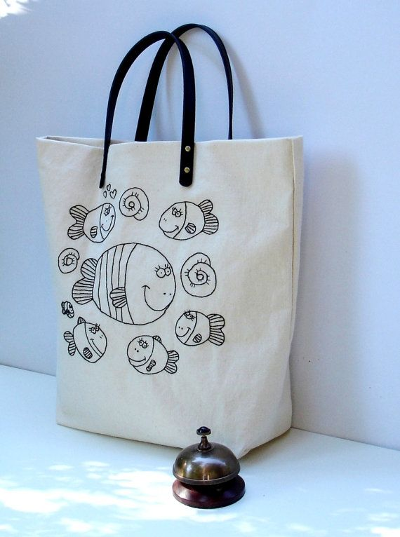 Canvas natural color  tote bag hand embroidered with fishes in