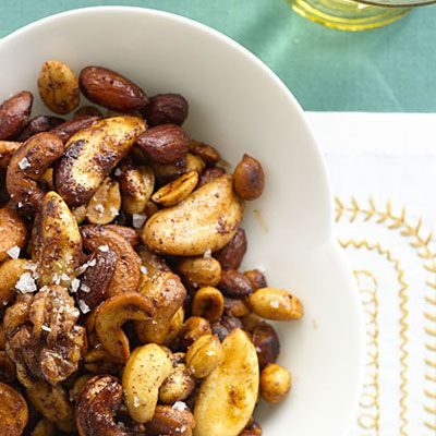 Maple Spiced Nuts: This #recipe is quick, easy, and full of heart-healthy fats. #spicednuts | Health.com