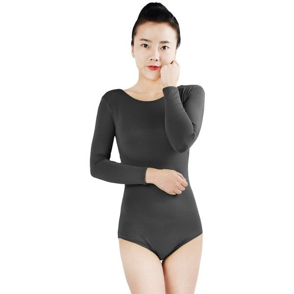 Ensnovo Women's Spandex Dance Leotard Bodysuit Long Sleeve (25 CAD) ❤ liked on Polyvore featuring intimates, body suit, lycra bodysuit, spandex body suit, long sleeve bodysuit and long sleeve body suit