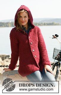 "Knitted DROPS jacket in seed st with hood in ""Andes"" or ""Eskimo"". Size: S - XXXL ~ DROPS Design"
