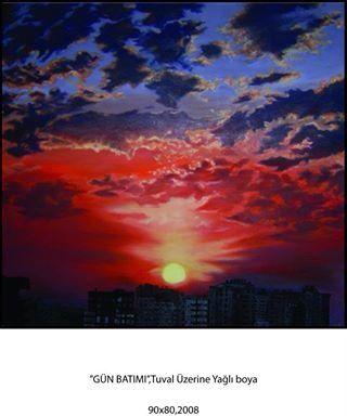 Gün batımı,manzara,yağlı boya