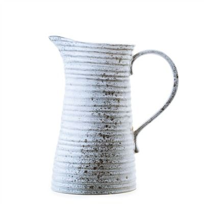 Rustique Stoneware Pitcher - Weathered White (491571159), Recycled Glass Pitchers, Decanters & More | bambeco