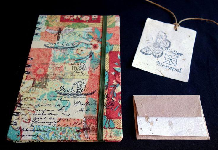 Agenda telefônica encadernada em tecido 100% algodão importado com wire-o preto, <br>Miolo em papel reciclado e craft. <br>Elástico na cor verde.