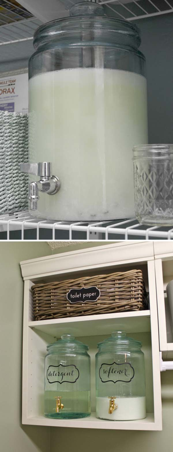 Make inexpensive homemade laundry detergent and then place it in a dispenser.