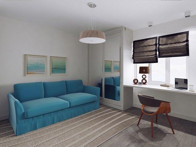 Гостиная. Дизайн интерьера однокомнатной квартиры, ул. Оккуловская, 40 кв.м.