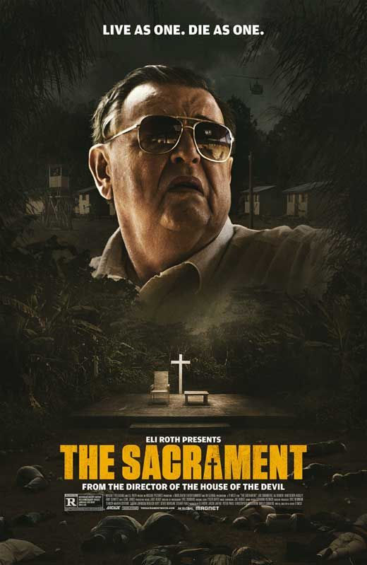The Sacrament (2014) - Synopsis: A fashion photographer is traveling to meet his sister at Eden Parish. Once there, his friends begin to film interviews with the Eden Parish inhabitants, all of whom speak of the commune in glowing terms. However, they soon discover that there is a sinister edge to the commune that belies the seemingly peaceful setting.