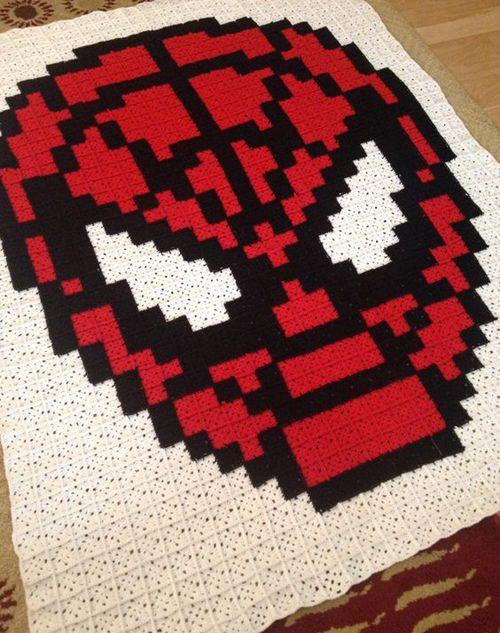 Crochet For Children: Spiderman Pixel Crochet Blanket - Free Pattern