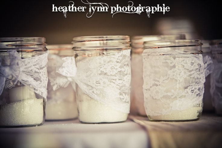 Lace around Mason Jars w/ Tealights