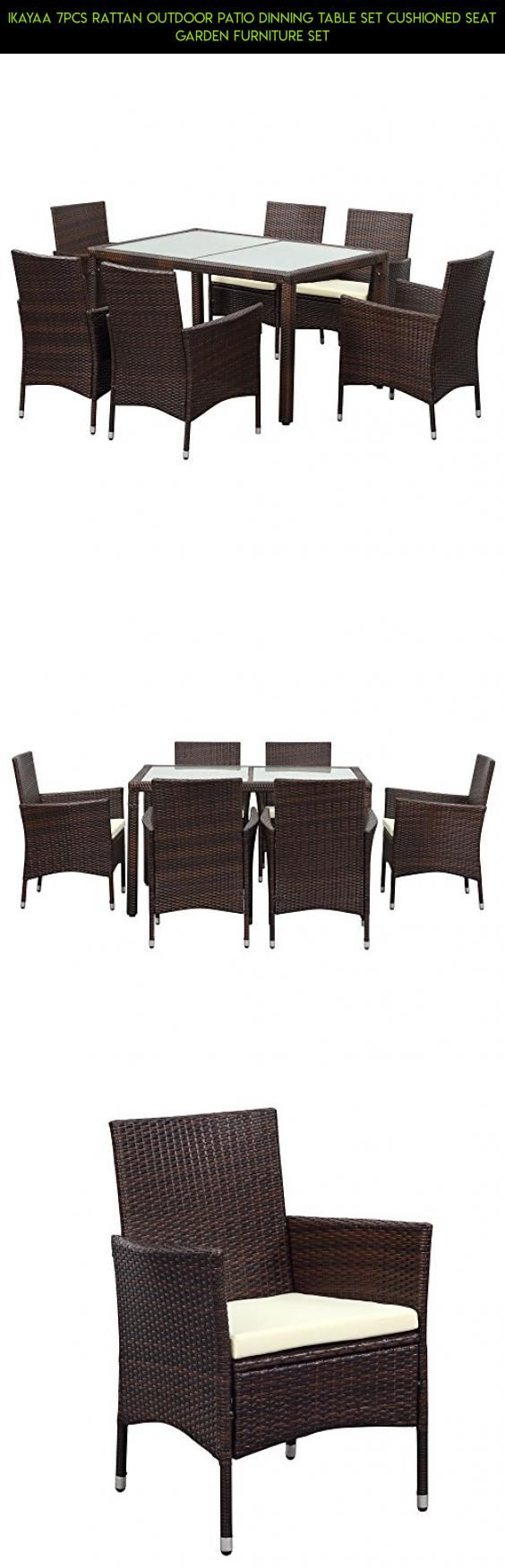 IKAYAA 7PCS Rattan Outdoor Patio Dinning Table Set Cushioned Seat Garden Furniture Set #racing #drone #parts #camera #shopping #gadgets #chairs #furniture #plans #fpv #products #kit #technology #6 #patio #tech
