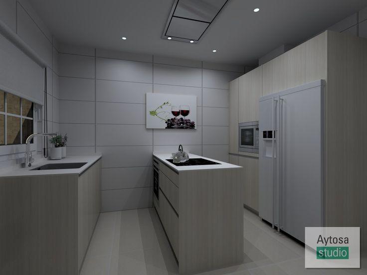 Cocinas SANTOS | Modelo LINE-E  fresno marfil con veta en vertical. Proyecto realizado por Aytosa studio para una casa situada en Fuente de Cantos, Badajoz.