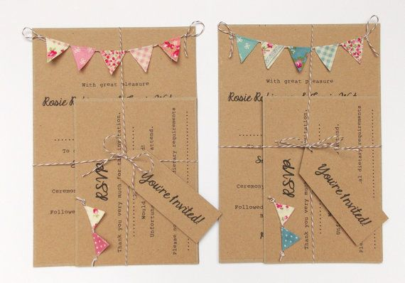 Wedding Invitation Unique Rustic Kraft Card by FromLeoniWithLove, £3.00