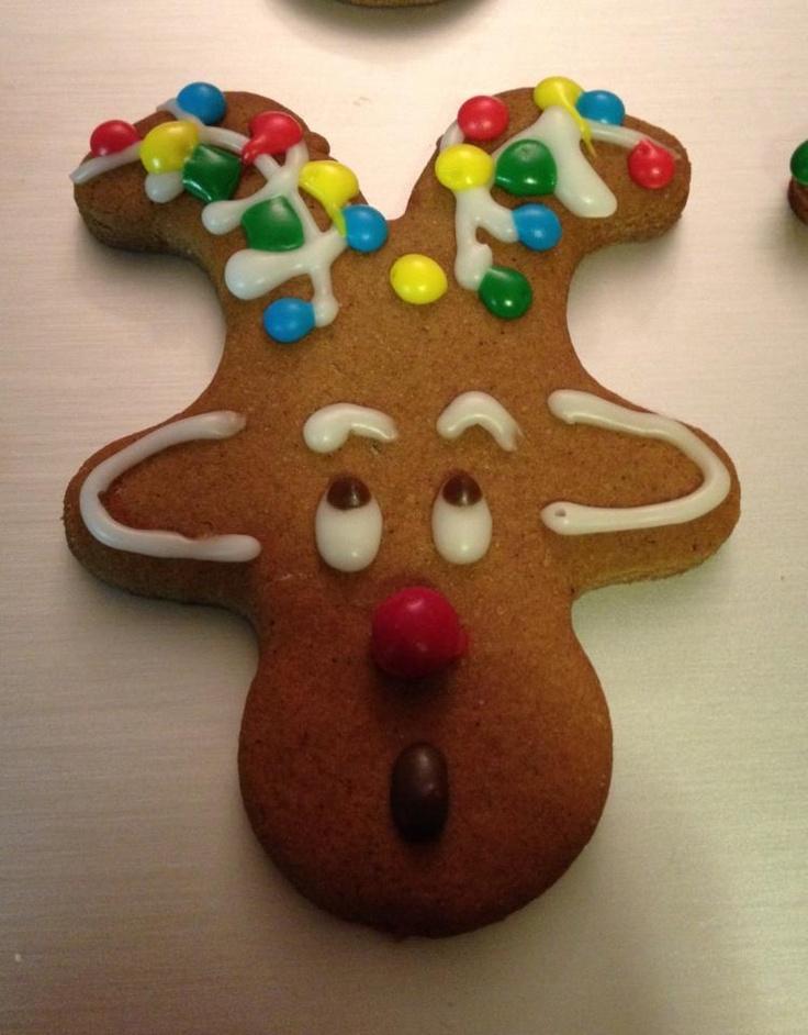 upside down gingerbread cookies make great reindeer