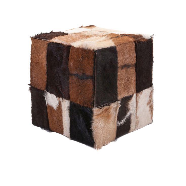 Imax Andros Animal Hide Cube Ottoman