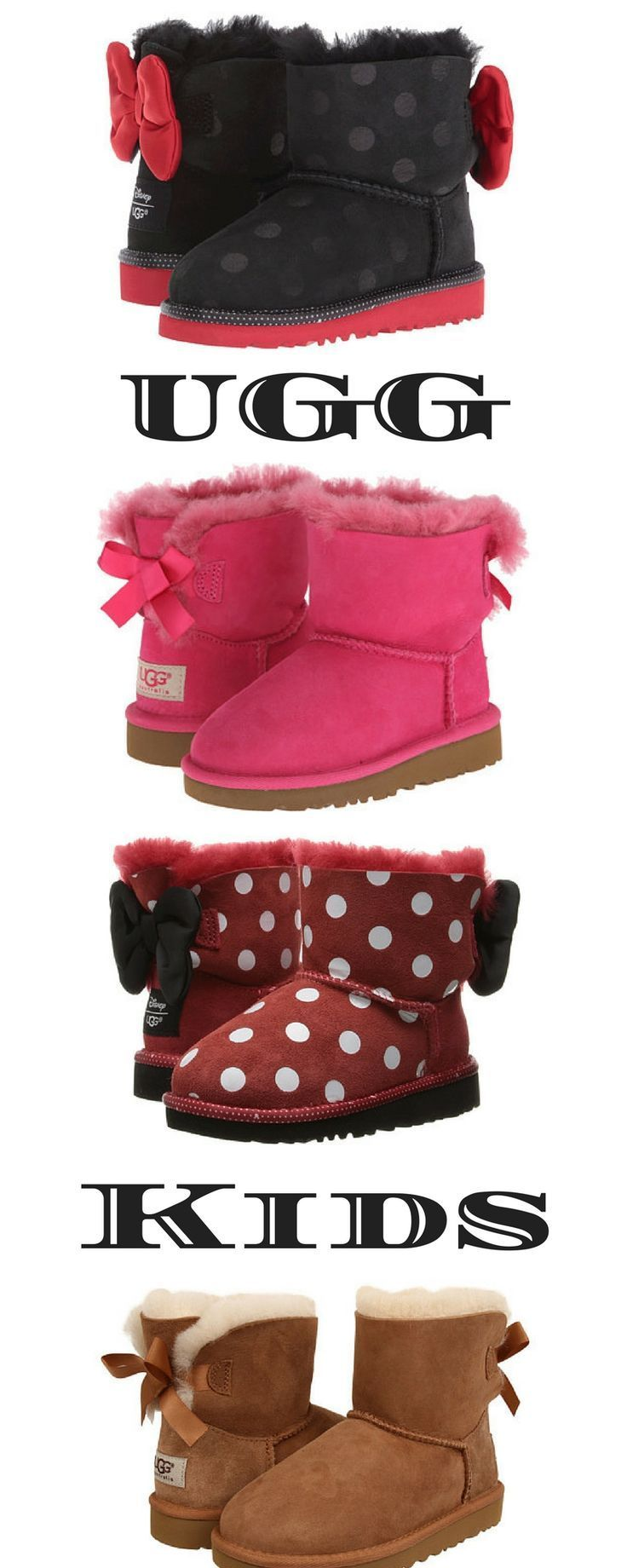 Disney UGGs | Fall Fashion | Kids shoes | Bow booties | Pink | Cute | Trending | Polk a dots