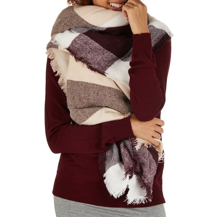 Oversized Border Check Scarf Pale Pink