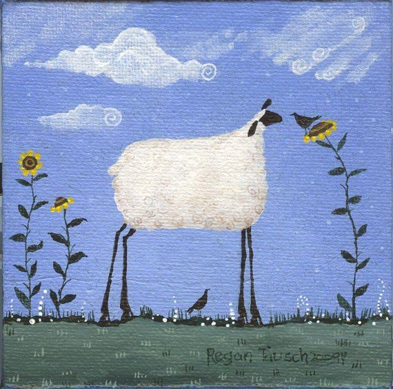 Whimsical folk art painting of a sheep by artbyregant on Etsy, $15.50