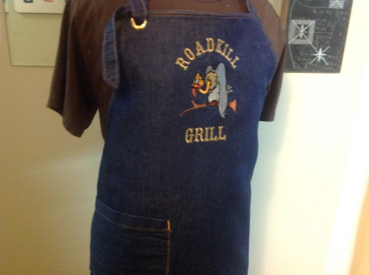 Denim apron with embroidery
