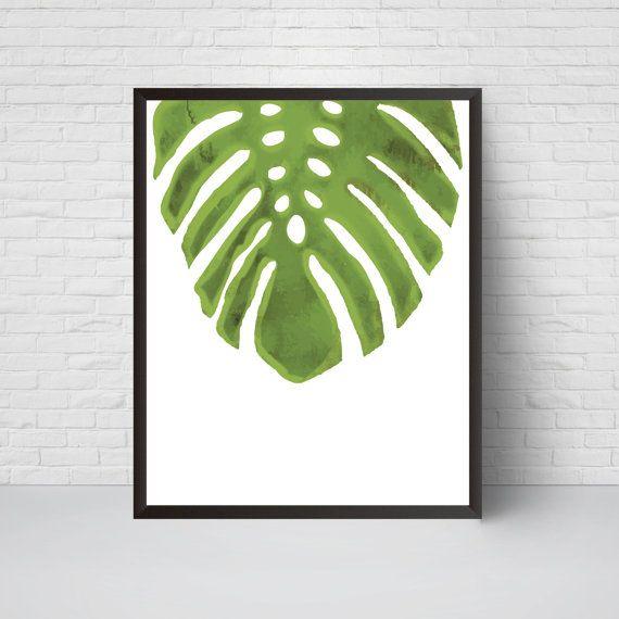 Palm Leaf Wall Art Print Beach House Leaf Decor by EVEprints