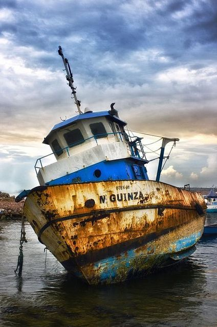 Boat, ship, clouds, water, reflection, decay, rusty, rust, beauty, worn out, sailing, photograph, photo
