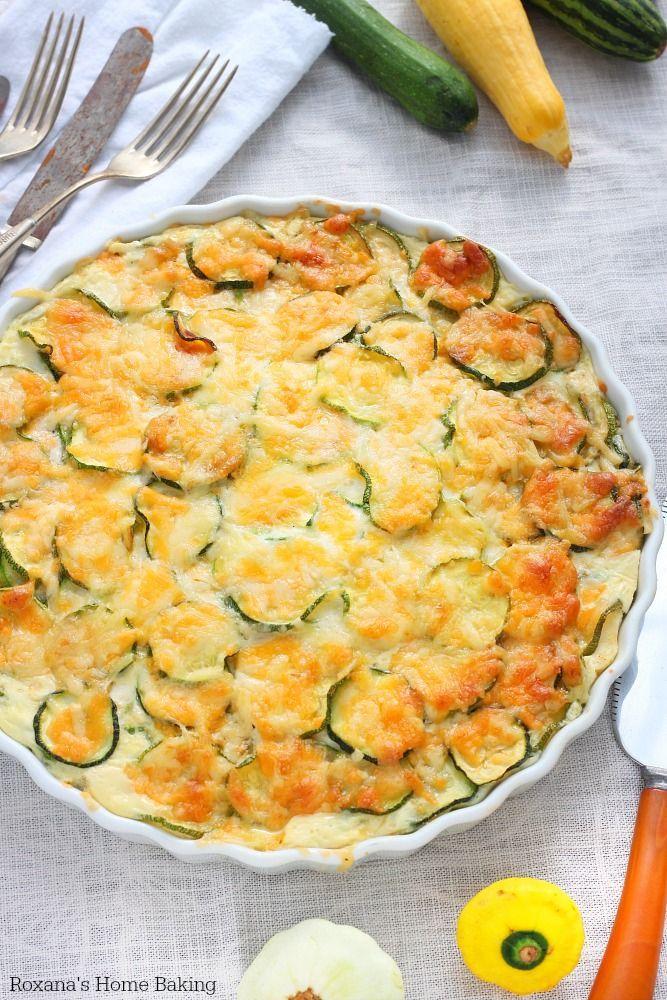 Crustless zucchini quiche recipe from Roxanashomebaking.com