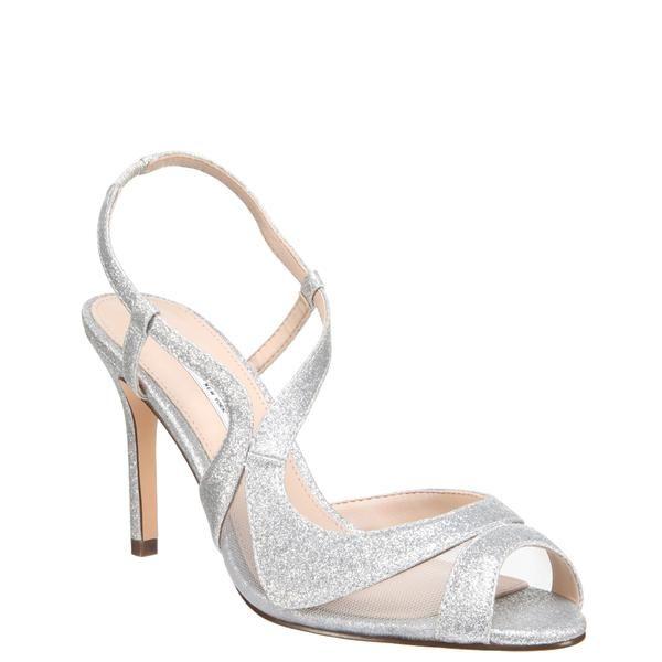 Regina Silver Glitter Nina Bridal Shoes Evening Sandals Prom Shoes Black