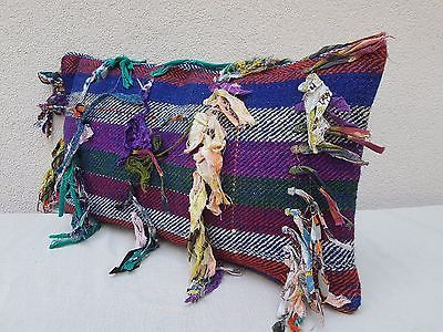 Boucherouite Berber Moroccan Kilim Rug Pillow Cover 14x24 Long Handmade Cushion