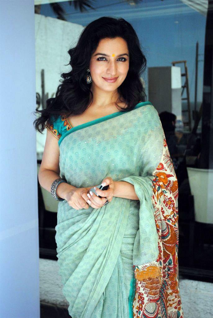 Tisca Chopra wearing Pastel Colour Kalamkari Saree
