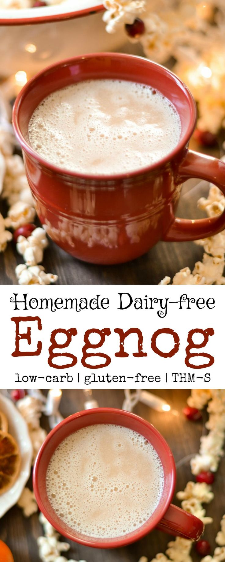 Easy to make delicious homemade dairy-free eggnog! Perfect for the holidays! Gluten-free, sugar-free, and low-carb. Trim Healthy Mama - S