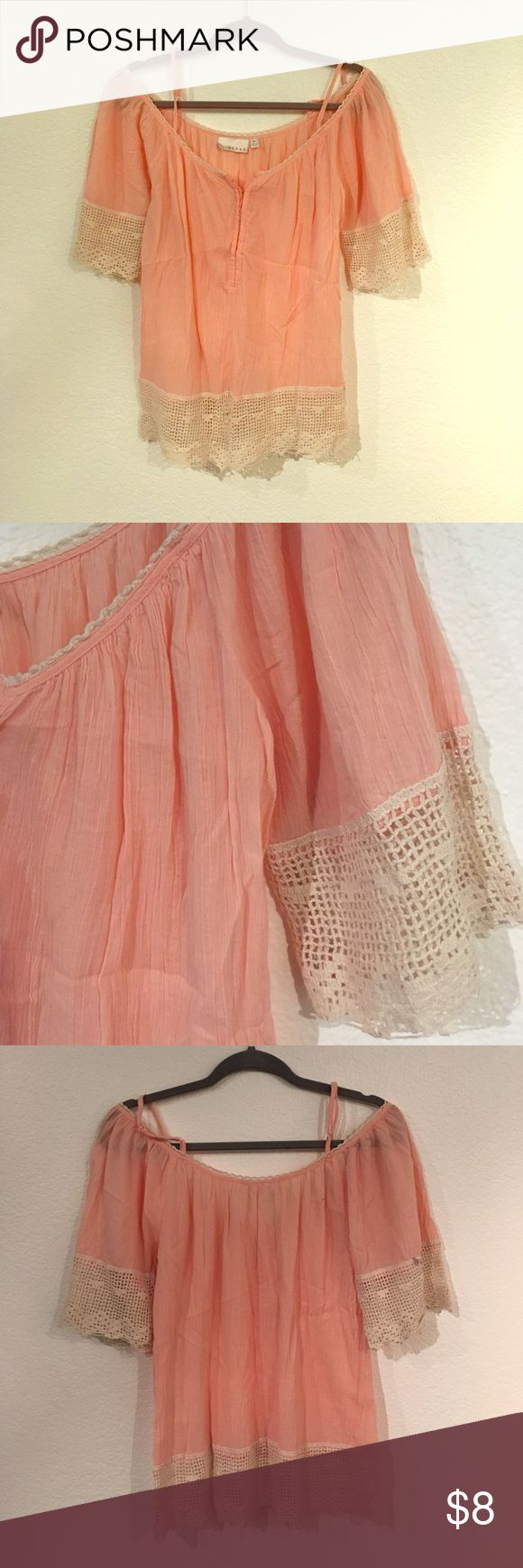 Off the shoulder pink short sleeve top This is an off the shoulder flowy short sleeve with straps to keep the shirt from falling off your shoulders. Was only worn a few times. Off-white lace trim on the neckline and ends of sleeves and bottom of the shirt Kenar Tops Tees - Short Sleeve