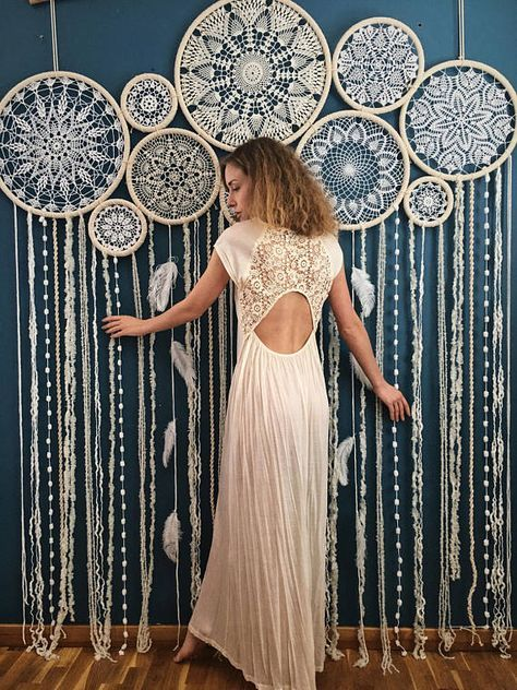 Dreamcatcher wall hanging, wedding decor, photo backdrop, multiple crochet dreamcatcher, boho wedding decor, luxury photo background