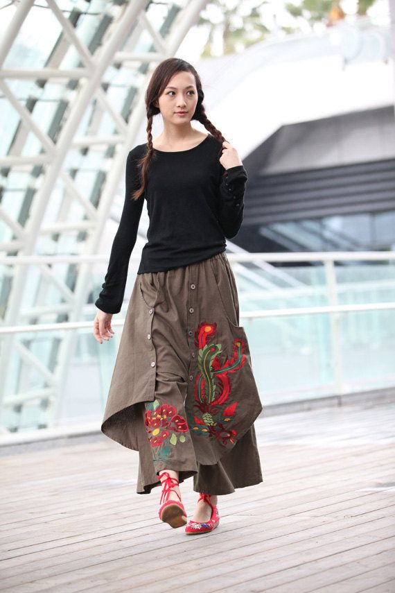 Army Green Casual Indian Wide Leg Skirt Pants by Sophiaclothing, $68.99