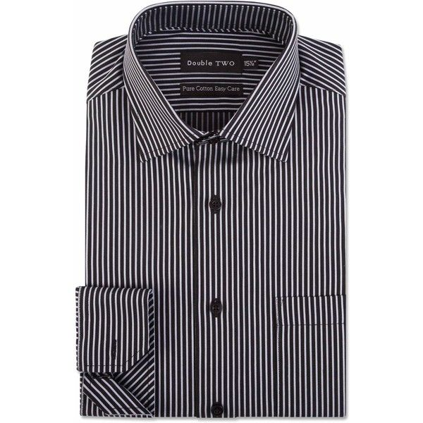 Double TWO Two Colour Striped Formal Sthirt ($58) ❤ liked on Polyvore featuring men's fashion, men's clothing, men's shirts, men's dress shirts, men shirts formal shirts, mens formal shirts, mens french cuff shirts, mens french cuff dress shirts, mens holiday shirts and mens striped shirt