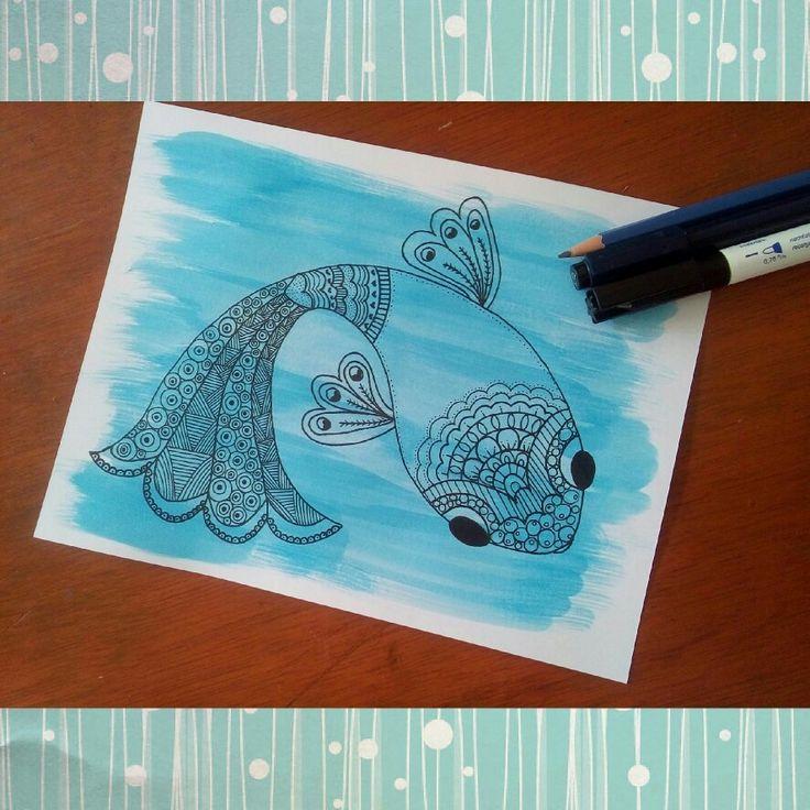 Pez (fish) en zentangle @anbeco